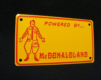 McDonald's Toy License Plate, 1970's, Bicycle Plate, Bike Plate, McDonald, Ronald McDonald, License Plate
