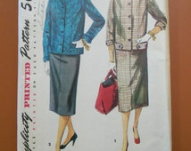 Simplicity 4871 Suit Straight Slim Skirt Jacket Coat Vintage Sewing Pattern 1950s 50s Size 14