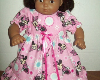 "American Girl Bitty Baby Bitty Twin Pink Minnie Mouse Flannel Nightgown 15 Inch Doll Clothes Fits 15"" Dolls New Homemade Christmas Gift"