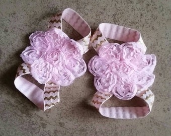 Any Colors! Pink and Gold Chevron Baby Barefoot Sandals w Shabby Lace Flower, Elastic Strap Sandals, Birthday Girl Shoes, Shoes for Pictures