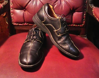 Men's Johnston&Murphy Black Pebbled Leather Oxfords Size 9.5 M Made In Brazil