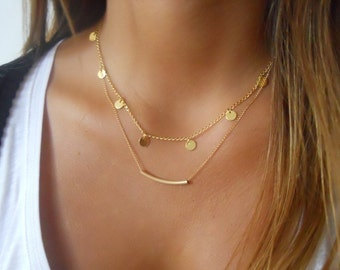 Gold Layered Necklace Set; Coins and Tube Necklace Set; Delicate Layered Necklace Set; Bridesmaid gift