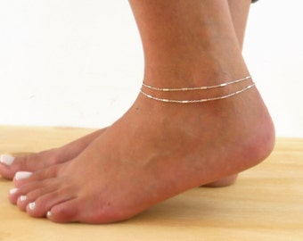 Double Layered Silver Anklet, Silver Chain Anklet, Multistandard Anklet, Silver Anklet