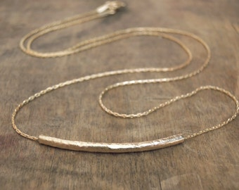 Hammered Tube Necklace; Delicate Gold filled Necklace; Layering Necklace; Dainty Gold Tube Necklace; Minimal Gold Necklace;