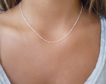 Sterling Silver Satellite Necklace. Pick Your Length