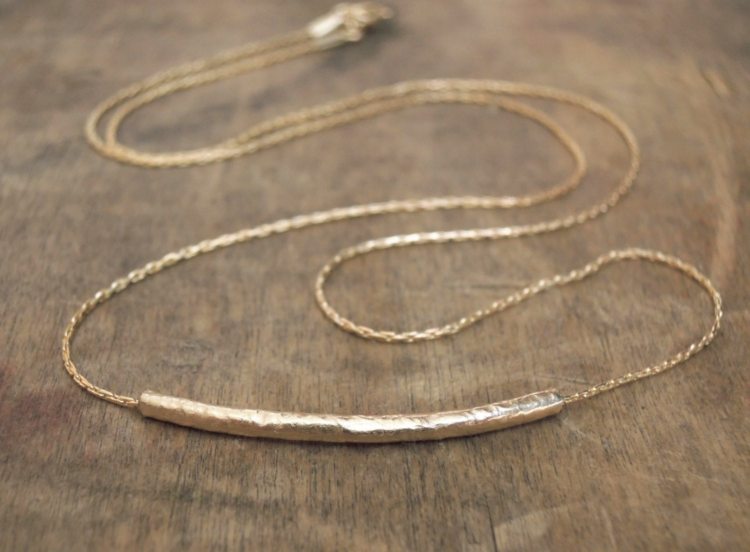 Hammered Tube Necklace Delicate Gold Filled Necklace