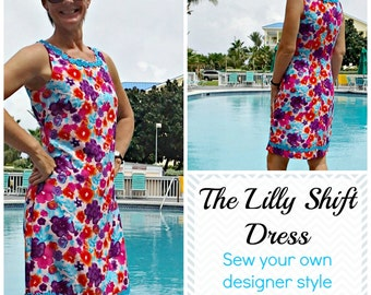 Lilly Shift Dress  - PDF Sewing  pattern