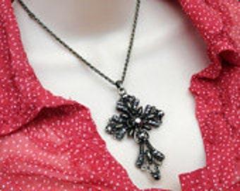 Filigree Cross Pendant Necklace - Antiqued Gold