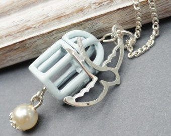 Blue Birdcage with Silver Bird Necklace