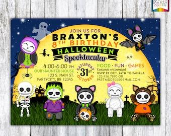 Skull Babies - Kids Halloween Birthday Costume Party Invite - Personalized Digital Custom Party Invitation 4x6 or 5x7 jpg or pdf
