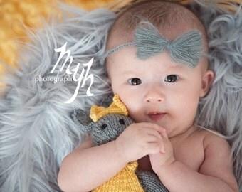 Newborn mohair headband/bow headband/crochet headband