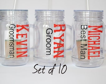 Best Man Gift - Acrylic Mason Jar Tumblers - set of 10  - Groom, Bestman, Groomsman Gift -  Personalzied - You pick colors/names/roles -
