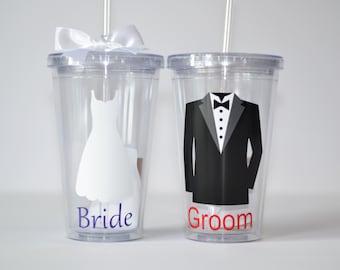 Bride and Groom Tumbler Set - Wedding Gift, Bridal shower gift, wedding tumblers