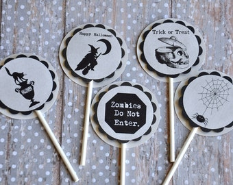 Halloween Cupcake Toppers:  Black and Grey Creepy Halloween Cupcake Toppers - set of 12