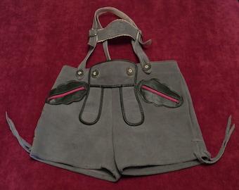 "vintage ""Oktoberfest"" grey lederhosen for children, leather trousers from the '60's"