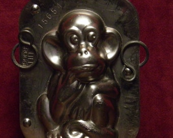 antique two part chocolate mold of a monkey