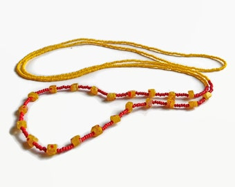 Long necklace in sunny yellow and red, bohemian jewelry