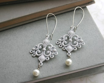 White Filigree and White Pearl Earrings Bridal Wedding Party Romantic Feminine Vintage Inspired