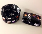 The Gothic Cupcake cuddle cup and sack set with black and white skull and crossbones fleece