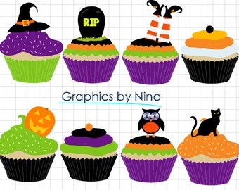 INSTANT DOWLOAD    Halloween Cupcakes Clipart Scrapbook for Personal and Commercial Use