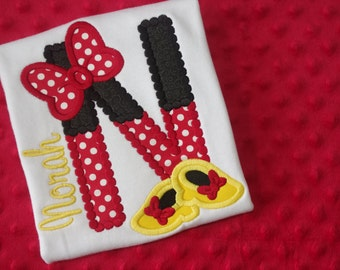 Minnie Mouse Initial or Birthday Number Appliqued Shirt