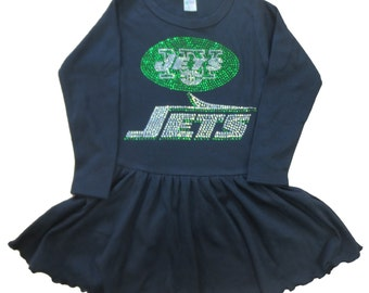 Girls / Toddler / Kids Crystal Sparkly New York Jets long sleeve dress