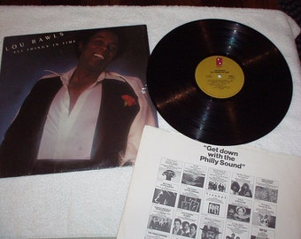 """1976 LOU RAWLS Vinyl Record titled """"All Things In Time""""-Include Hits """"Groovy People"""" & """"You'll Never Find Another Love Like Mines""""-Rare Pics"""