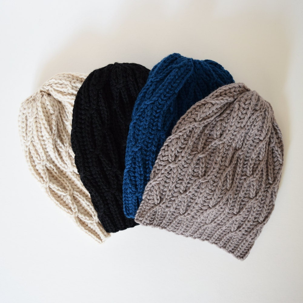 Cable Knit Hat Slouchy Beanie Chunky Hat Winter Hat by IRISMINT