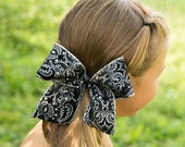 Girls Large Black and Silver Hair Clip Accessory