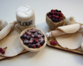 12th scale - Cherry ripe - a cherry pie preparation board for the dollshouse!