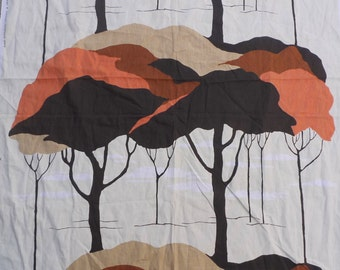"60's 70's Vintage CHETLEY ORIGINALS Tree Landscape Print Fabric Panel 45"" x 82"""
