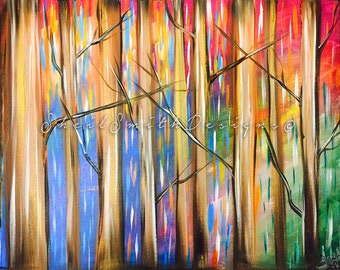 Bright Forrest Painting, Simple version (Hand Painted with Acrylic by Sheila A. Smith)