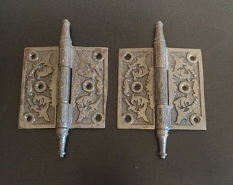 Vintage Pair of Cast Iron Door Hinges