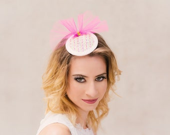 Bridal fascinator neon sashiko embroidery tulle white