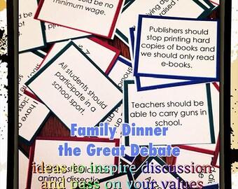 The GREAT DEBATE, Family Dinner Discussions, Instant Download Printable, Parenting Resource, Debate Team, Teens and Tweens