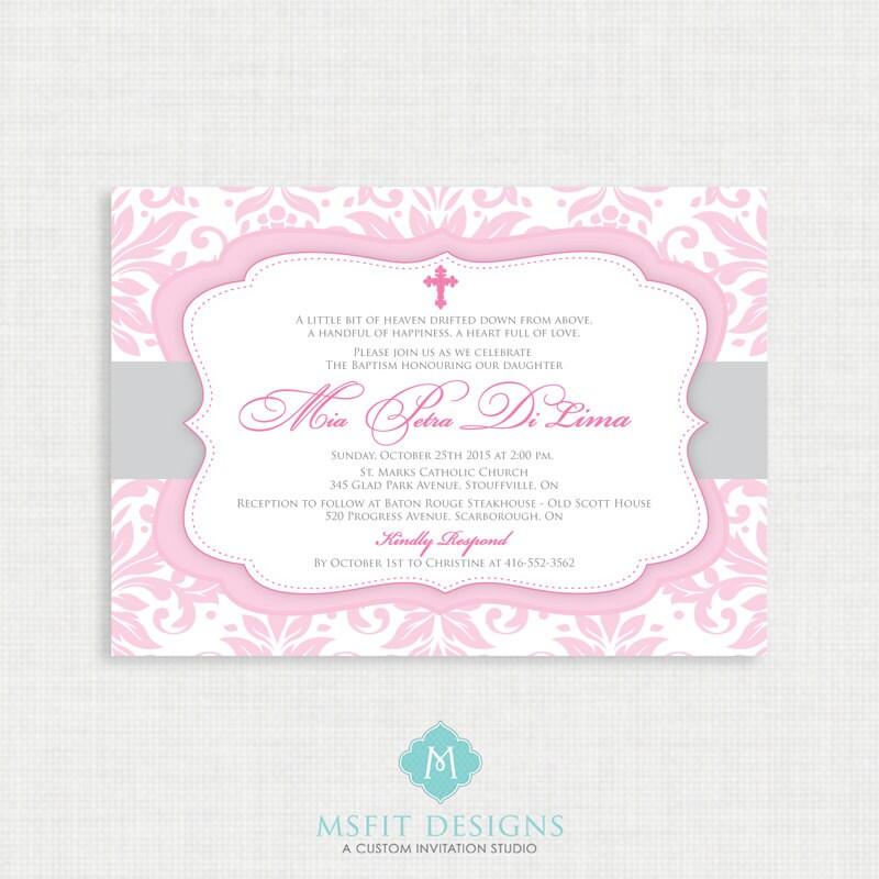 Printable Baptism Invitation- Girls Baptism Invitation - Baby ...