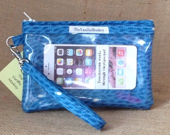 Smartphone Wristlet in Blue with School of Fish in Shades of Blue and White fits iPhone 5, 6, 6 Plus
