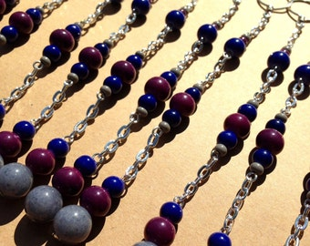 Shower Curtain Hook Decorations. Navy blue, gray, plum purple and silver. 5.75 inches long.  Dresses up any bathroom!