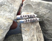 Stackable Stainless Steel  Name ring -3mm-Stamped ring with up to four names- Mother's Ring, Stacking Rings, Name Rings