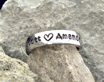 5mm Stainless Steel Stamped ring with up to four names