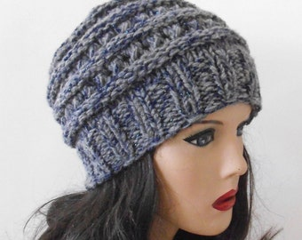 Grey Chunky Wool Hat. Slouchy Hat. Hand Knit Hat. Winter Woman Hat.