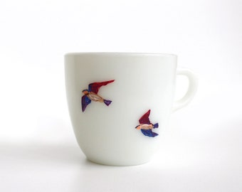 Hand Painted Teacup - Flying Swallows - Original Painting