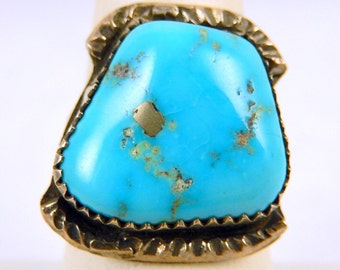Vintage Navajo Turquoise Sterling Silver Ring Size 8