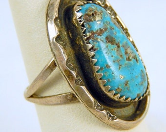 Vintage Navajo Turquoise Sterling Silver Ring Size 7.25