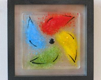 Abstract Pinwheel - Fused Glass Wall Art