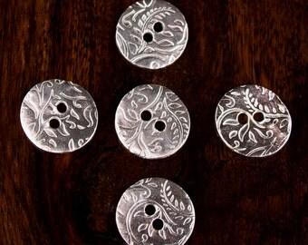 Paisley  Leaf Fine Silver Button. Handmade.