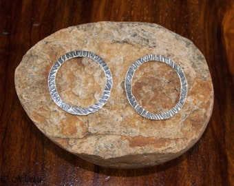 Fine Silver Round Links.  2 Handmade Hammered Link.