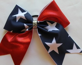 Cheer Bow Red, White and Navy Blue