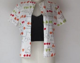 ON HOLD  vintage  Novelty print  blouse , shirt , UK S / M novelty blouse , fruity , fruit print