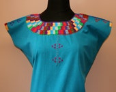 Traditional Hand Embroidered Multicolor Mexican Huipil on Manta/100% Cotton-BOHO-Hippie